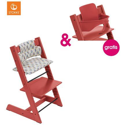 STOKKE® Tripp Trapp® Hochstuhl Buche Warm Red inkl. Classic Baby Sitzkissen Robot Grey + gratis Baby Set Warm Red