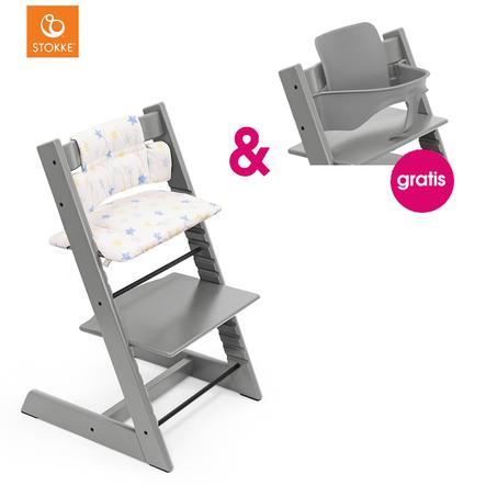 STOKKE® Tripp Trapp® Hochstuhl Buche Storm Grey inkl. Classic Baby Sitzkissen Stars Multi + gratis Baby Set Storm Grey