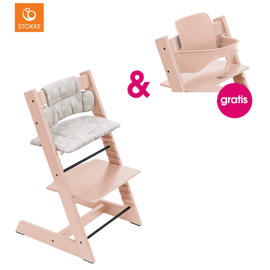 STOKKE® Tripp Trapp® Hochstuhl Buche Serene Pink inkl. Classic Baby Sitzkissen Star Silveri + gratis Baby Set Serene Pink