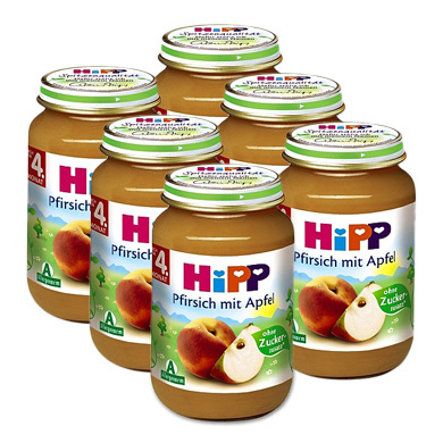 HIPP Bio Peach with Apple, pack of 6 (6 x 190g)
