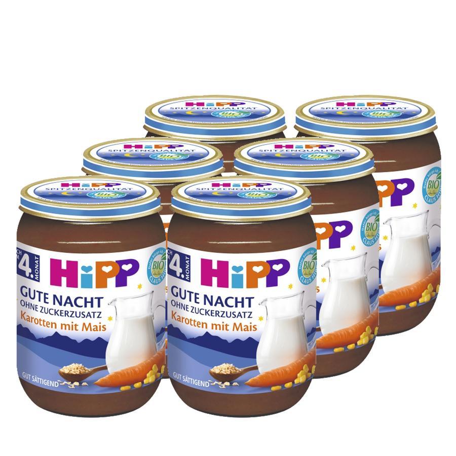 HIPP Bio Good Night Mash Carrots with Corn, 6 x 190g