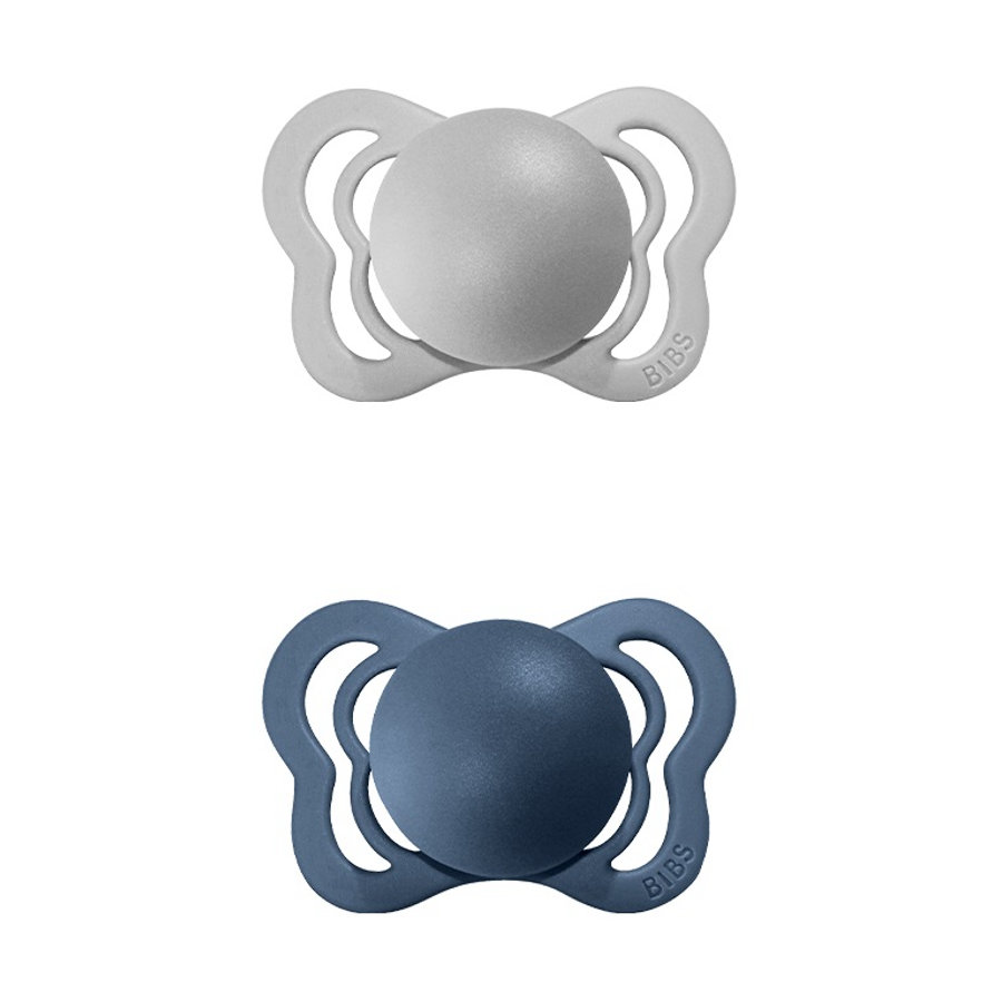 BIBS Schnuller Couture Cloud / Steel Blue Latex 6-36 Monate, 2 Stk.
