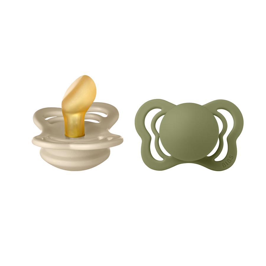 BIBS Sucette Couture Olive/Vanilla latex 0-6 m, lot de 2
