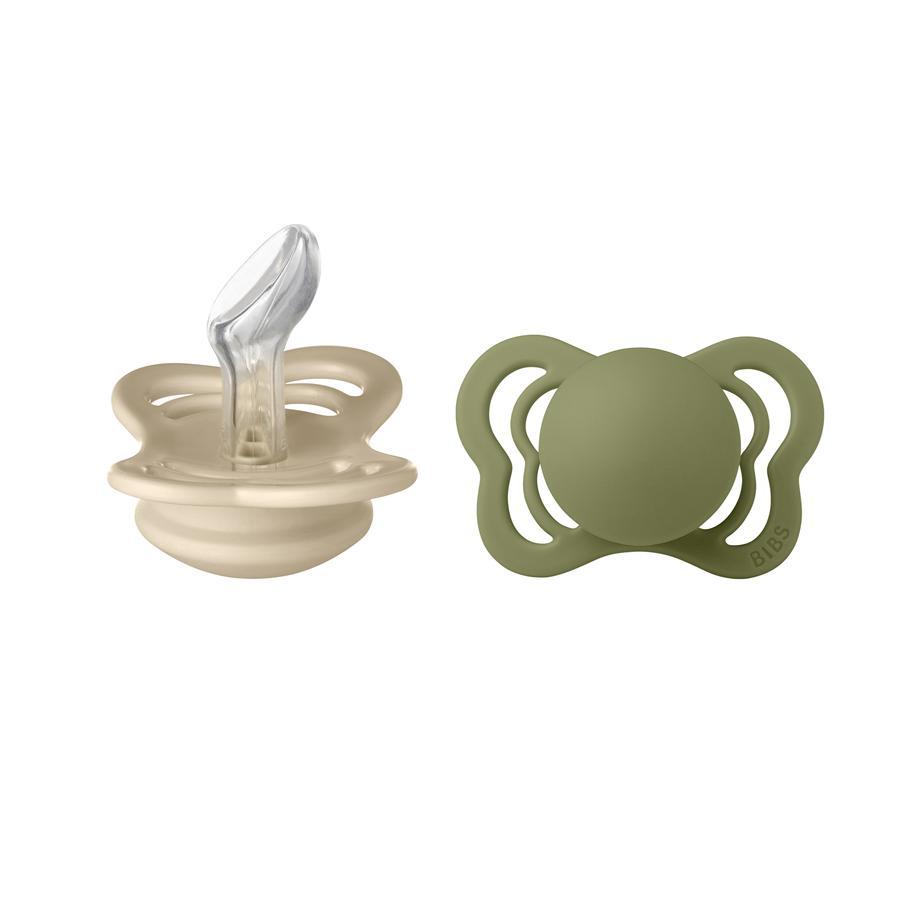 BIBS Sucette Couture Olive/Vanilla silicone 0-6 m, lot de 2