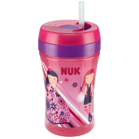 NUK Easy Learning Cup Fun 300 ml, avec paille soft en silicone, rouge