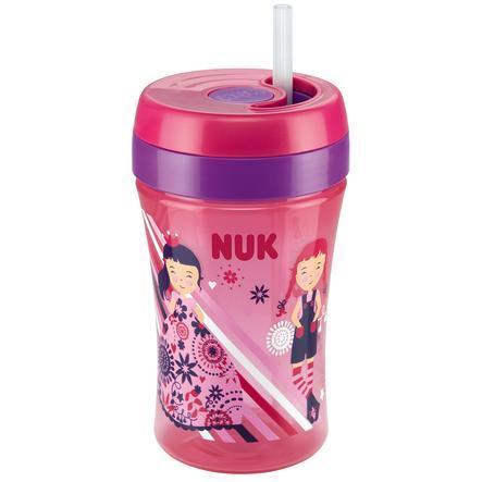 NUK Kubek do nauki samodzielnego picia Easy Learning Cup Fun 300ml z silikonową słomką kolor czerwony