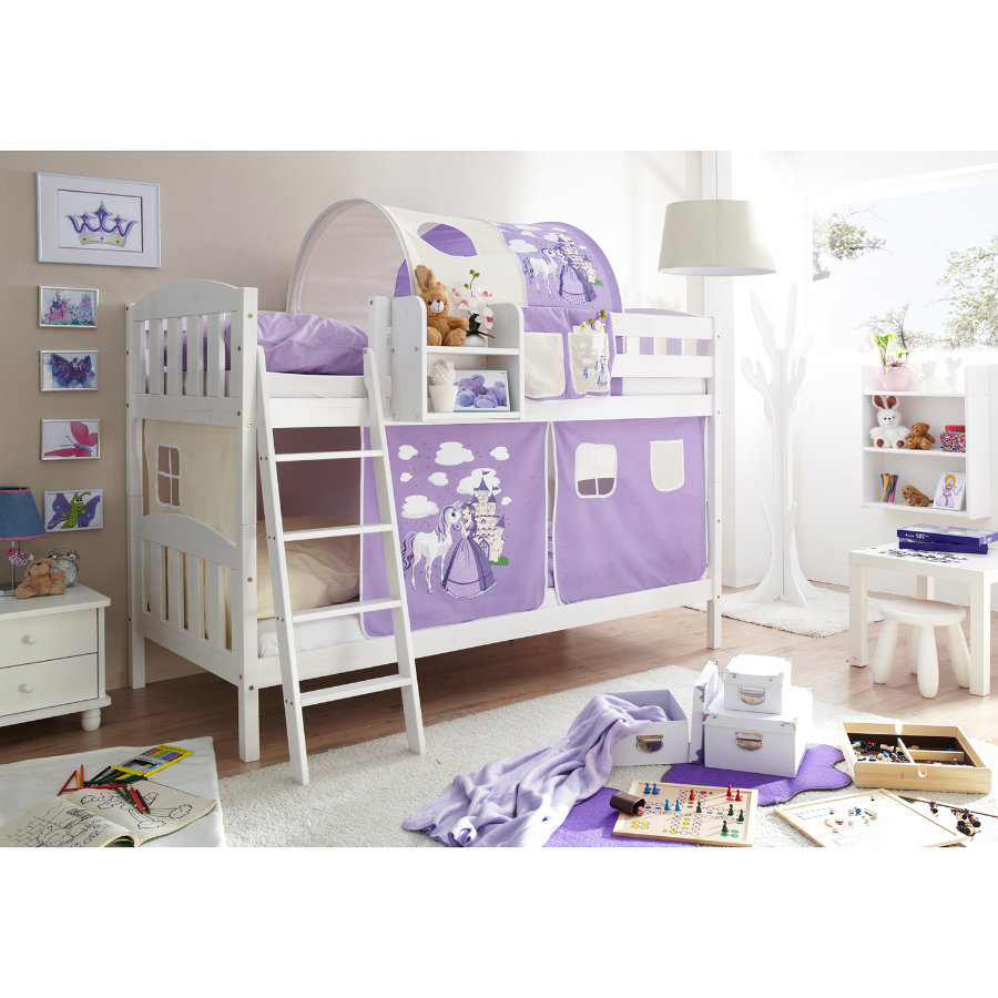 TICAA Dvouposchoďová postel ERNI Country-V borovice bílá - Horse fialová
