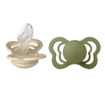 BIBS Soother Couture Olive / Vanilla Silicone 6-36 månader, 2 st.