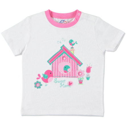 anna & tom Mini Girls T-shirt Lucky Birds, blanc/rose