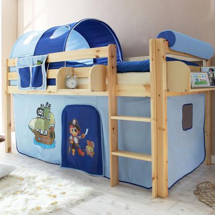 TICAA patrová postel natur - pirát světle/tmavě modrá