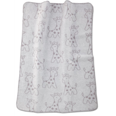 Image of ALVI Babydecke Baumwolle mit Kettelkante Giraffe grau