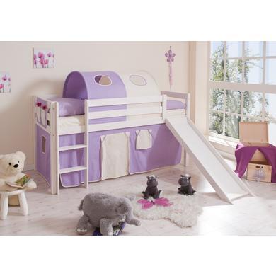 Kinderbetten - TiCAA Rutschbett Manuel Kiefer Weiß Lila Beige  - Onlineshop Babymarkt