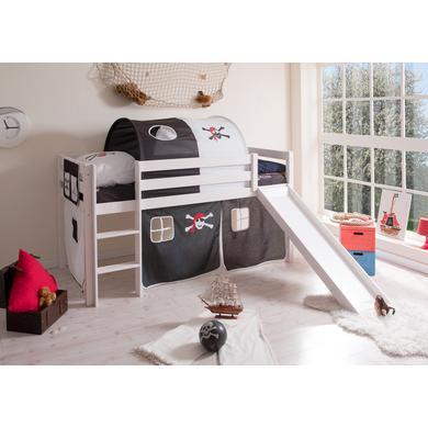 Kinderbetten - TiCAA Rutschbett Manuel Kiefer Weiß Pirat Schwarz Weiß  - Onlineshop Babymarkt