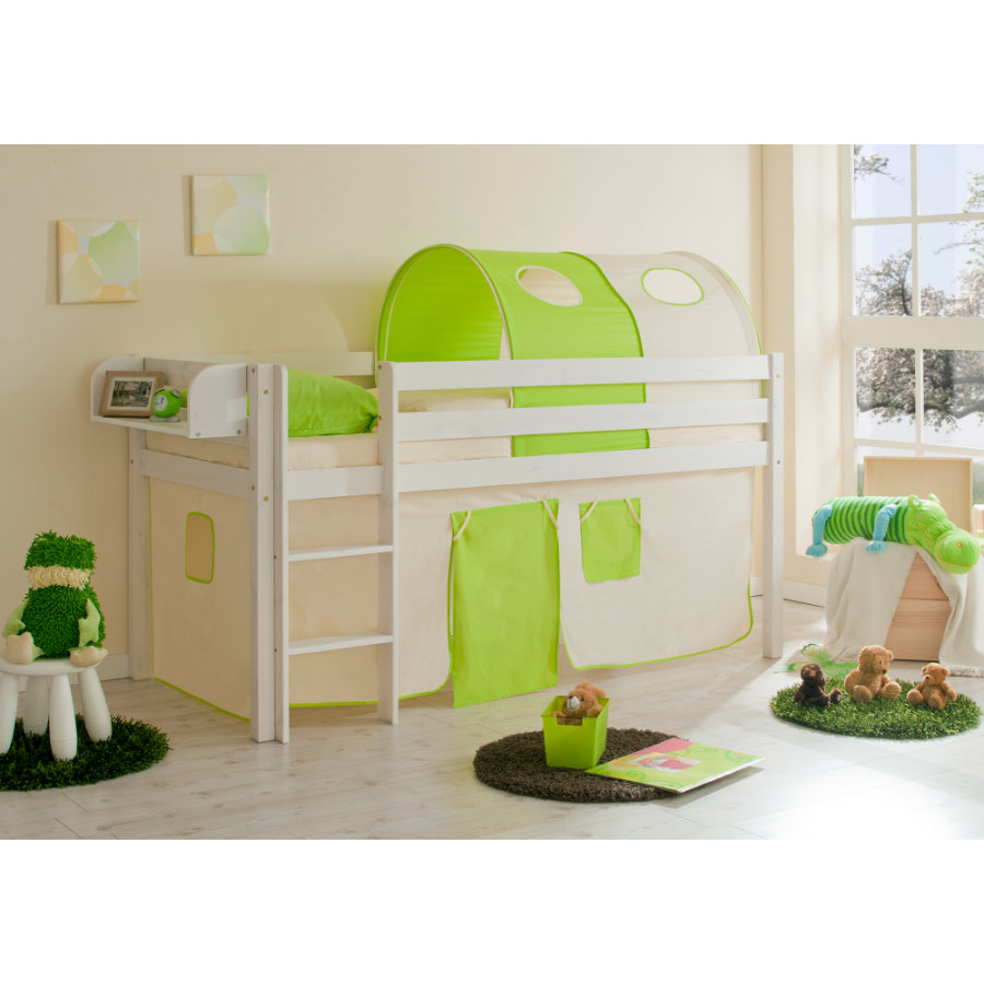 TiCAA Hochbett Malte Kiefer Weiß beige-grün