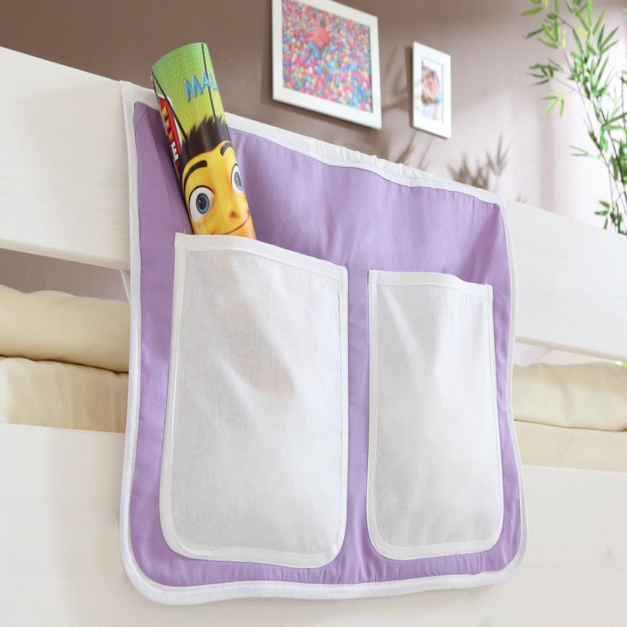 TiCAA Bett-Tasche für Hoch- und Etagenbetten Lila Beige