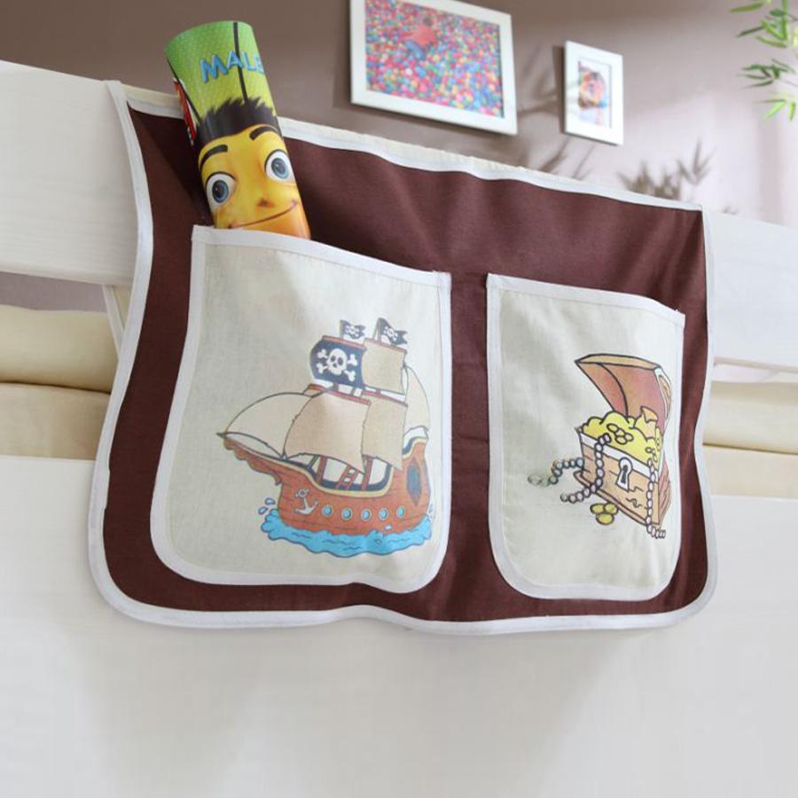 TiCAA Bett-Tasche für Hoch- und Etagenbetten Pirat Braun Beige