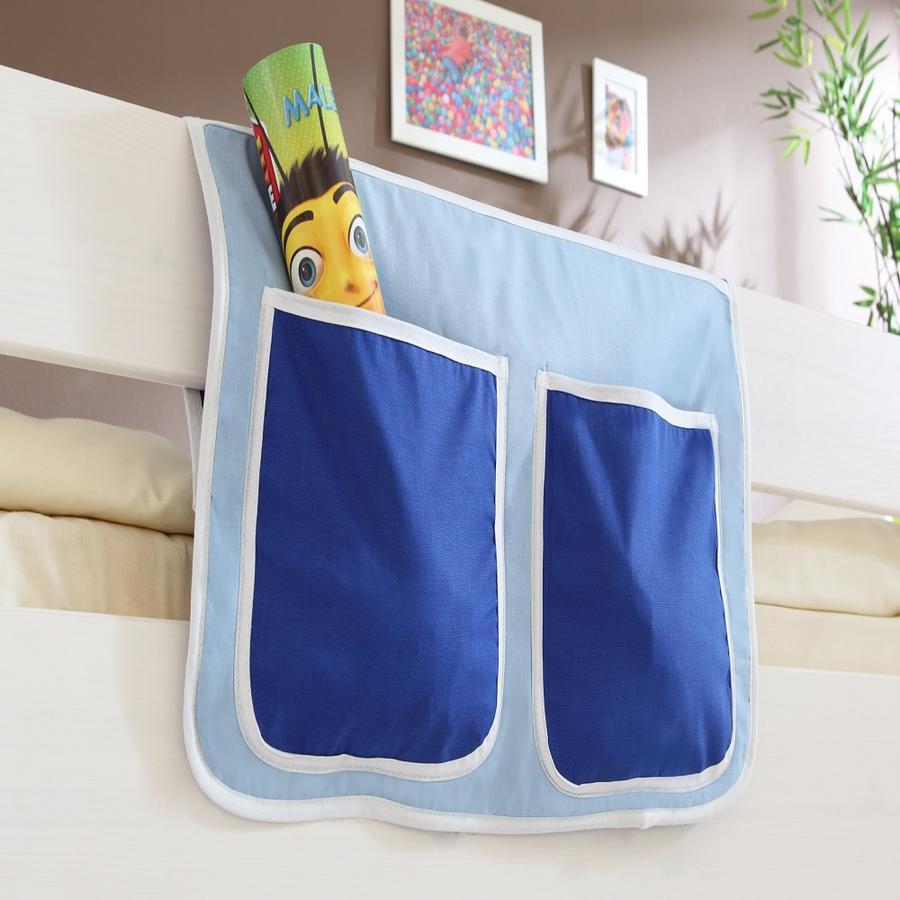TiCAA Bett-Tasche für Hoch- und Etagenbetten Hellblau Dunkelblau