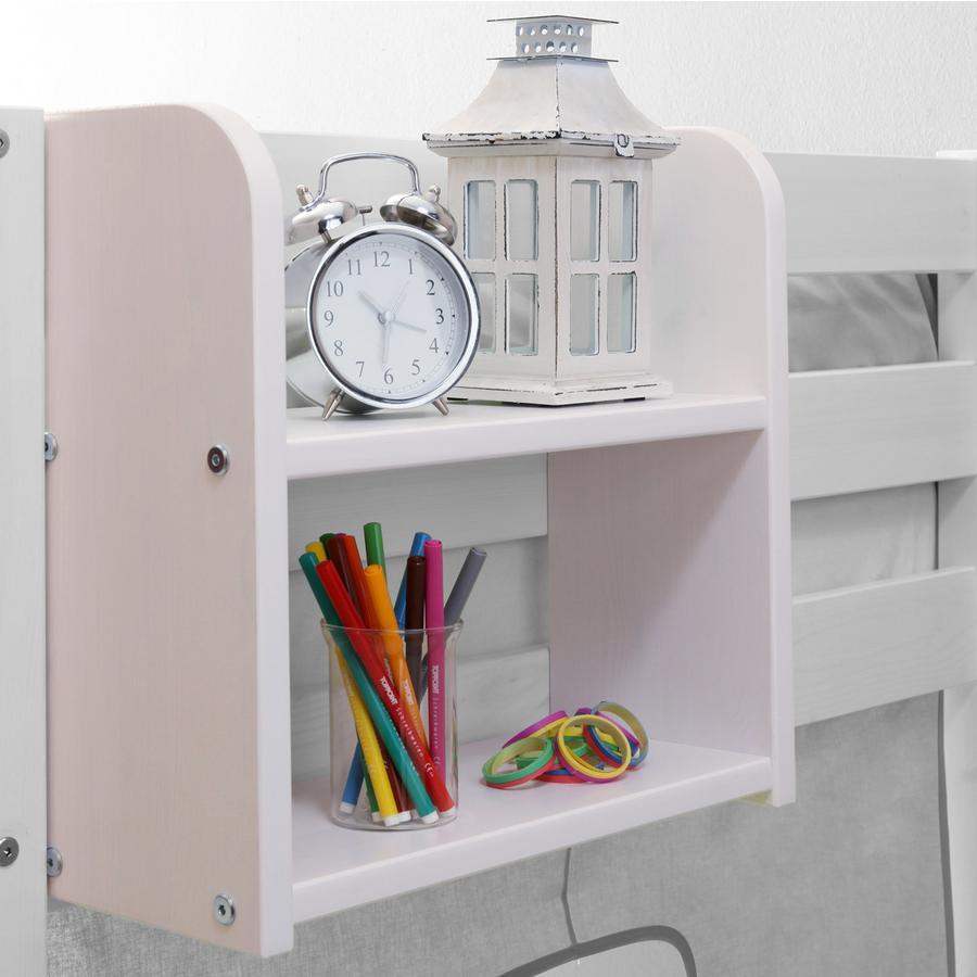 TiCAA Einhängeregal für Hoch- und Etagenbetten Klein mit zwei Böden Weiß