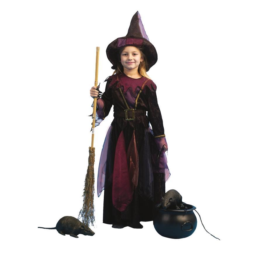 FUNNY FASHION Karneval Kostüm Hexe mit Hut Gürtel lila
