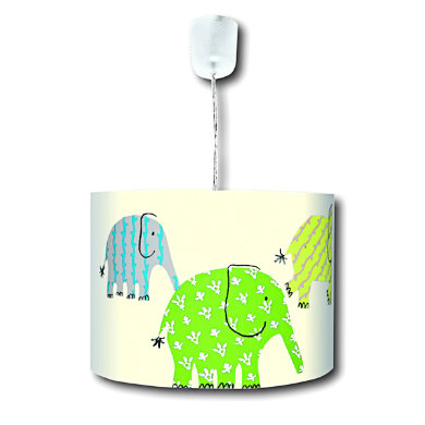 Kinderzimmerlampen - WALDI Pendelleuchte Designers Guild green elephants, grün 1 flg.  - Onlineshop Babymarkt