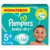 Pampers Baby-Dry Windeln, Gr. 5+, 12-17kg, Monatsbox (1 x 132 Windeln)