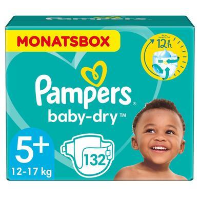 PAMPERS Pannolini Baby-Dry Taglia 5+ (12-17 kg) - Confezione mensile da 132 pannolini
