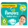 Pampers Baby-Dry T. 6 Extra Large (16+ kg)  pack mensual 124 unidades