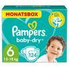 PAMPERS Pannolini Baby-Dry Taglia 6 (13 - 18 kg) - Confezione mensile da 124 pannolini
