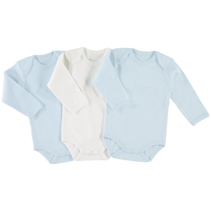 pink or blue Boys Baby Body 1/1 Arm 3er Pack blau, weiß
