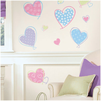 RoomMates Muursticker Hearts - Rood