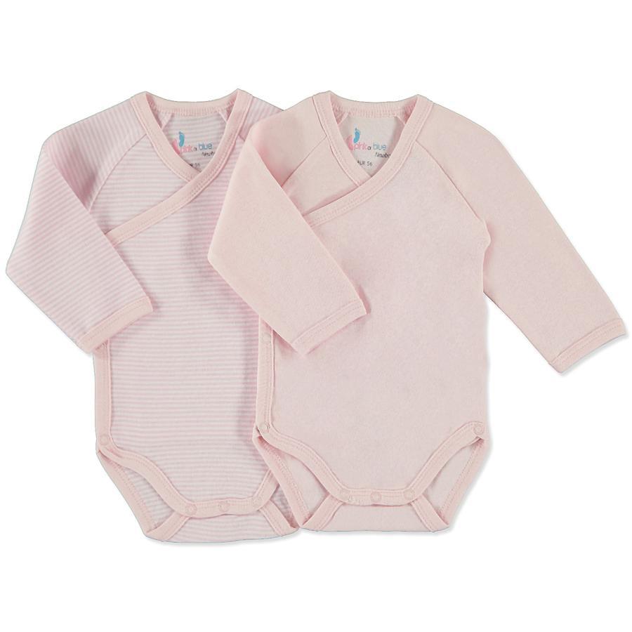 pink or blue Girls Newborn Wickelbody 1/1 Arm 2er Pack rosa, geringelt