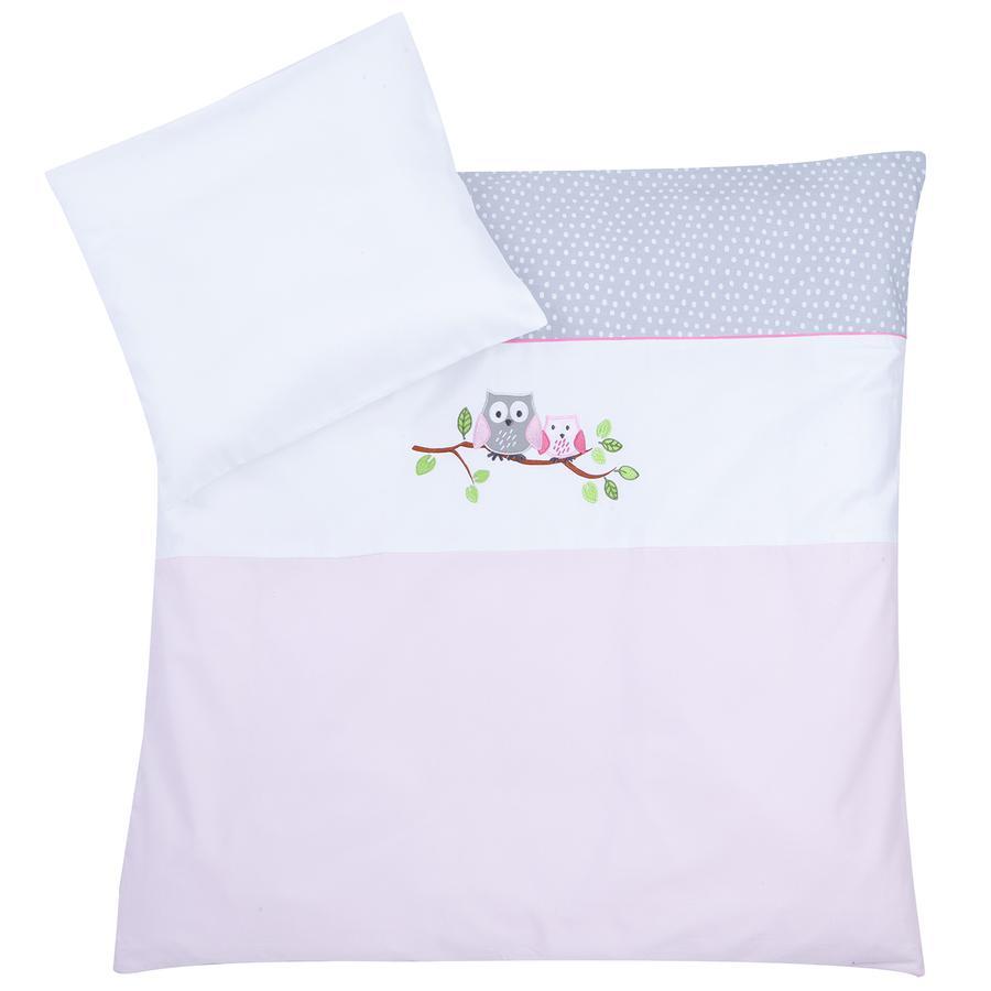 JULIUS ZÖLLNER Bettwäsche 80 x 80 cm kleine Eulen rosa