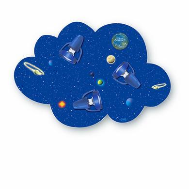 Kinderzimmerlampen - Waldi Deckenleuchte Wolke Weltall 3 flg., 3x9W E14 blau  - Onlineshop Babymarkt