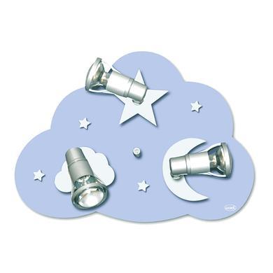 Kinderzimmerlampen - Waldi Deckenleuchte Wolke Starlight 3 flg., 3x9W E14 blau  - Onlineshop Babymarkt