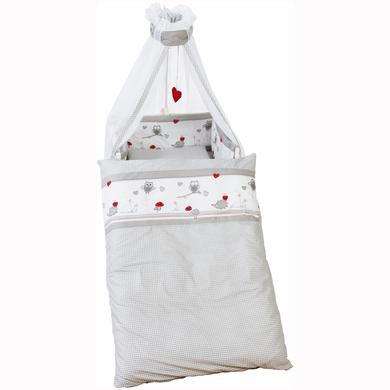 Kindertextilien - roba Kinderbettgarnitur 4tlg. 100x135cm Adam Eule grau weiß bedruckt Gr.100x135 cm  - Onlineshop Babymarkt