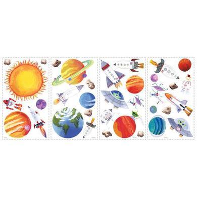 Wanddekoration - RoomMates® Wandsticker Weltraum bunt  - Onlineshop Babymarkt