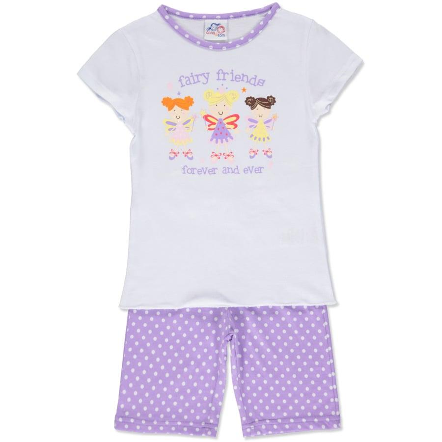 anna & tom Girls Schlafanzug kurz 2-teilig Princess weiß, lila gepunktet