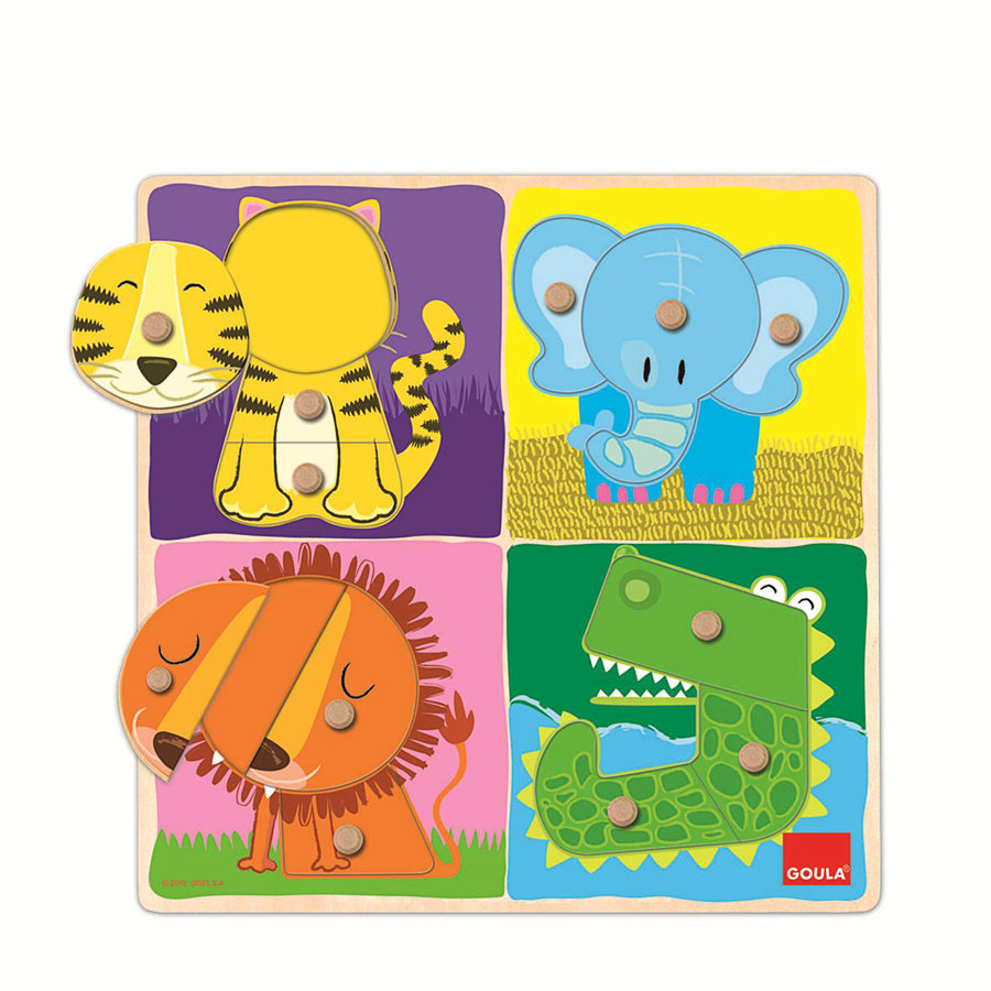 GOULA Holzpuzzle Wilde Tiere