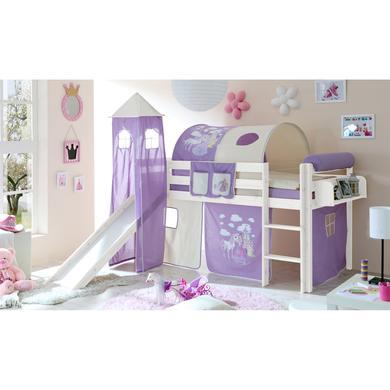 Kinderbetten - TiCAA Rutschbett Kasper Kiefer weiß Horse (Lila) mit Turm  - Onlineshop Babymarkt