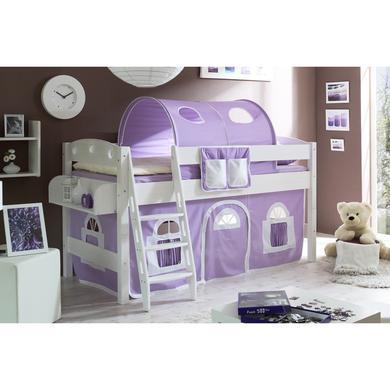 Kinderbetten - TiCAA Hochbett Kenny R weiß lila weiß  - Onlineshop Babymarkt