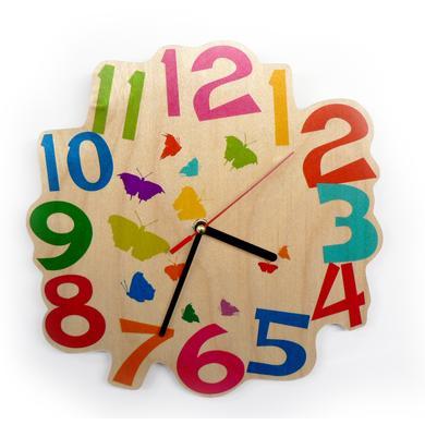 Uhren - Hess Wandquarzuhr Schmetterlinge bunt  - Onlineshop Babymarkt