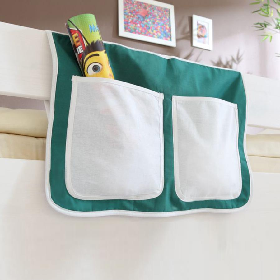 TiCAA Bett-Tasche für Hoch- und Etagenbetten dunkelgrün - weiß (Goal)