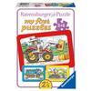 Ravensburger My first Puzzle - Rahmenpuzzle Bagger, Traktor und Kipplader, 3x6 Teile