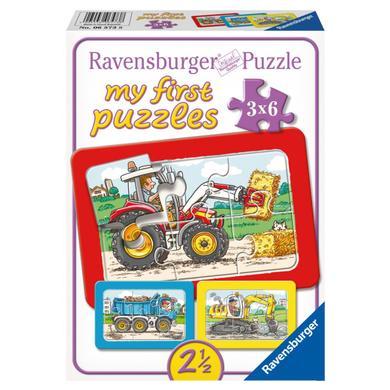 Ravensburger Moje první puzzle - Rámové puzzle - Bager, Traktor a Vyklápěčka, 3x6 dílů