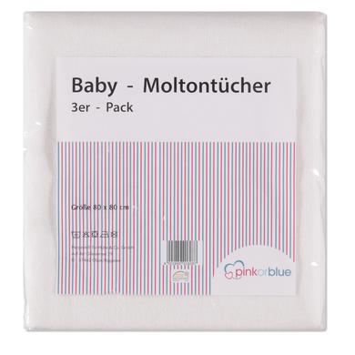 Pink or blue  Moltontücher 3er Pack weiss - weiß