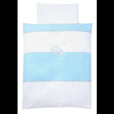 Kindertextilien - easy baby Bettwäsche Set 80x80cm BEAR blue blau  - Onlineshop Babymarkt