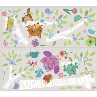 Wanddekoration - RoomMates® Wandsticker Waldtiere Birke bunt  - Onlineshop Babymarkt