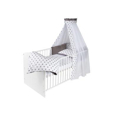 Kinderbetten - Schardt Komplettbett Classic White Big Stars grau 70 cm x 140 cm  - Onlineshop Babymarkt