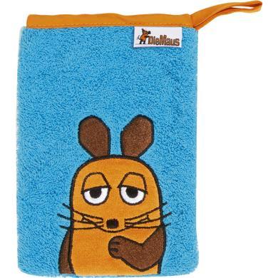 Kindertextilien - Playshoes Frottee Waschhandschuh DIE MAUS aquablau  - Onlineshop Babymarkt