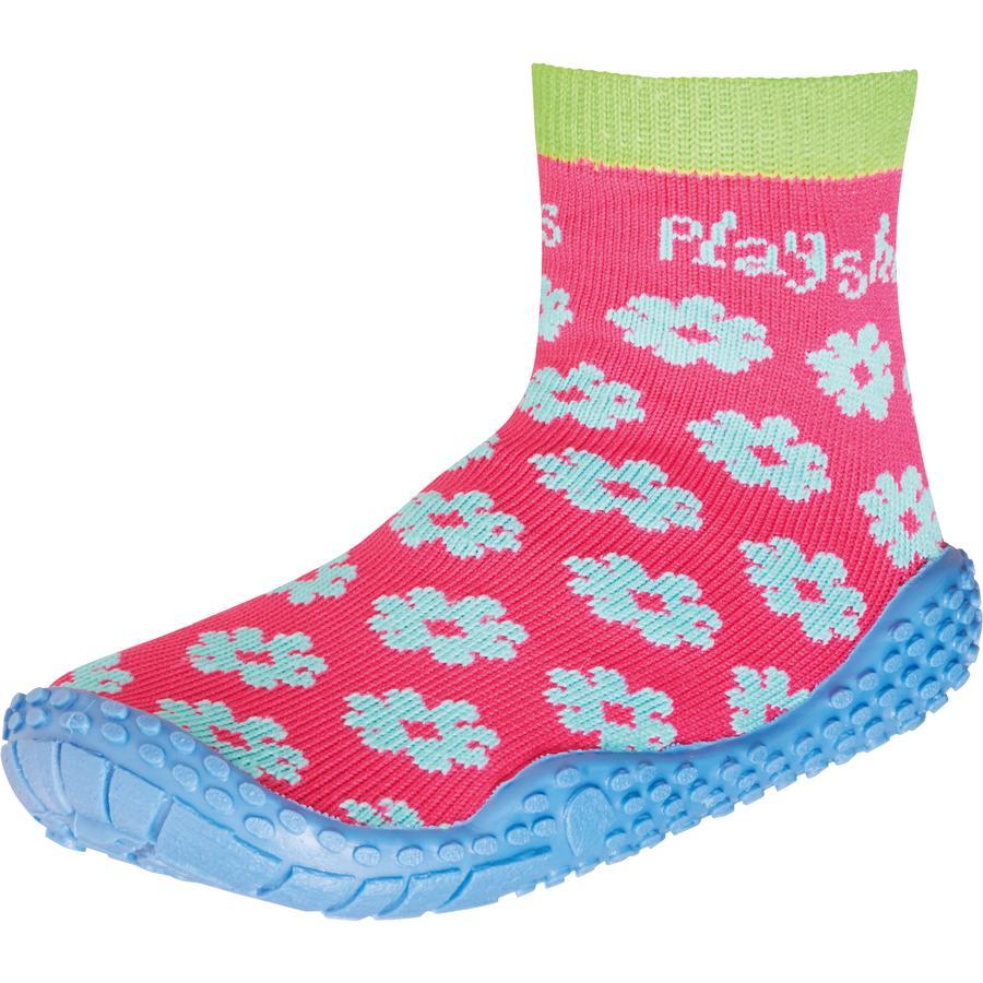 Playshoes Girls Aqua Socken Blume pink